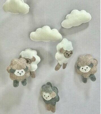 Sheep Cot Mobile - Stone & Grey Felt
