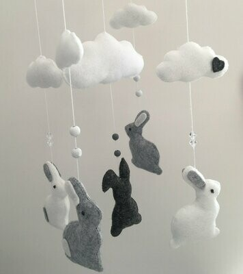 Bunny Cot Mobile - Grey & White Felt