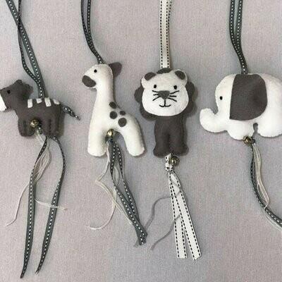 Jungle Animals Swing Set - Charcoal & White