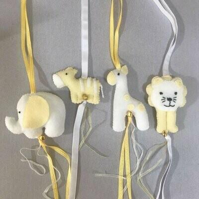 Jungle Animals Swing Set - Yellow & White