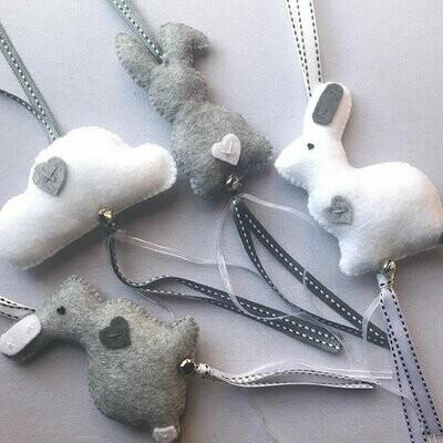 Bunny Swing Set - Grey & White