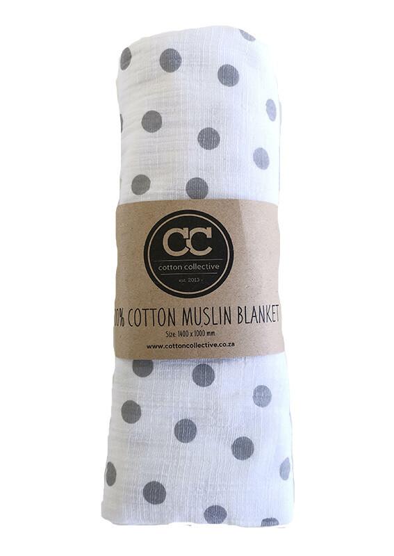 Muslin Swaddle Baby Blankets – Grey Polka Dot – 100% Cotton