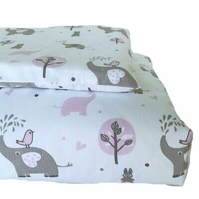 Cot Duvet Cover Set – Grey Ellie Pink