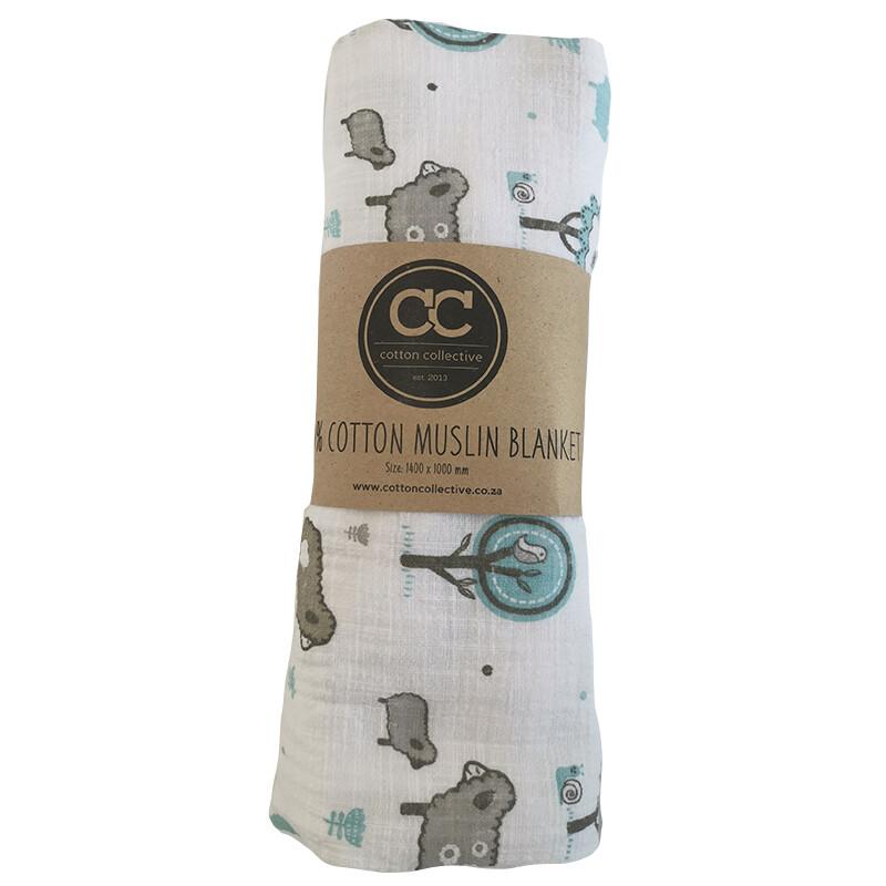 Muslin swaddle baby blankets - Little Sheep Blue - 100% cotton