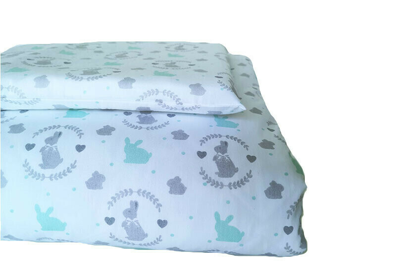 Cot Duvet Cover Set – Bunny Mint