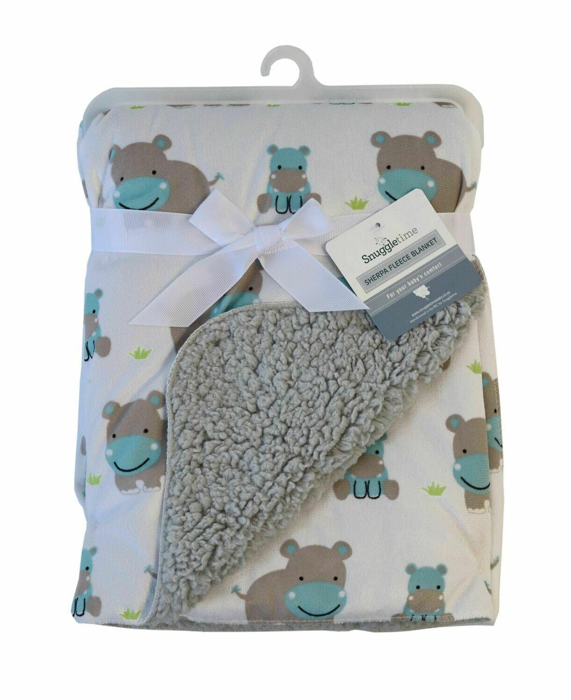 Sherpa Fleece Blanket – Hippo