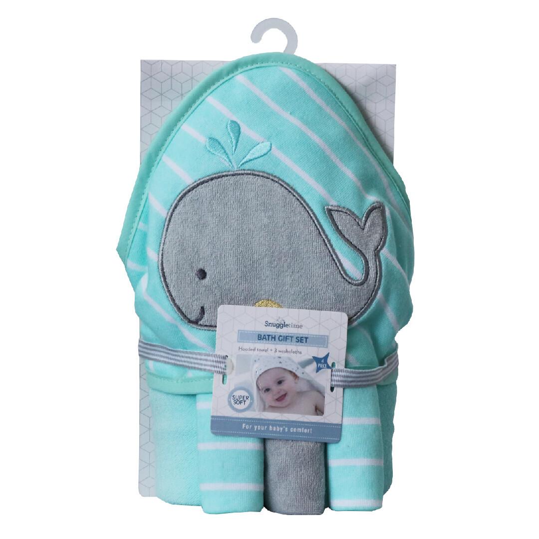 Hooded Bath Towel Gift Set - Whale