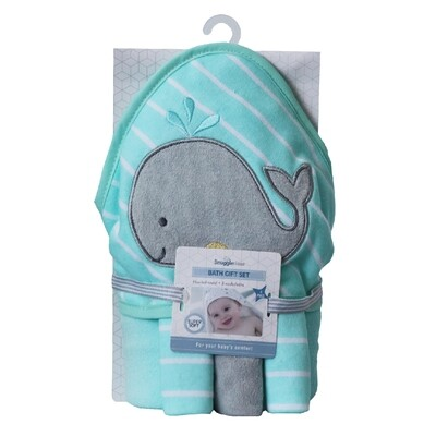 Hooded Bath Towel Gift Set - Whale
