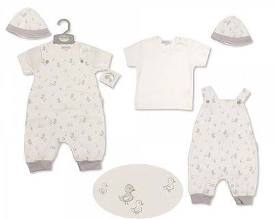 'My little duckling' dungaree set with hat