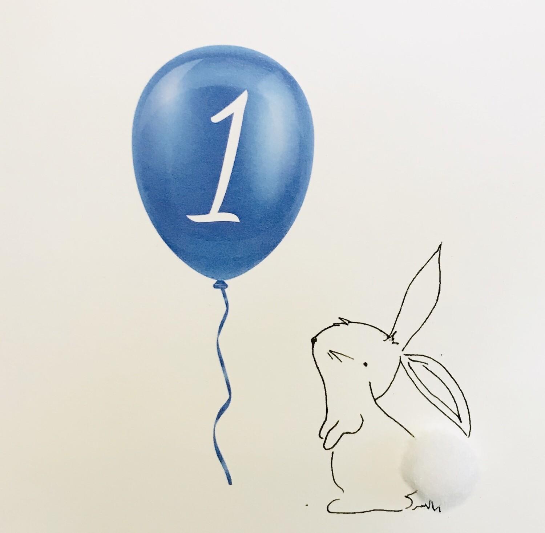 1st Birthday Greeting Card Blue