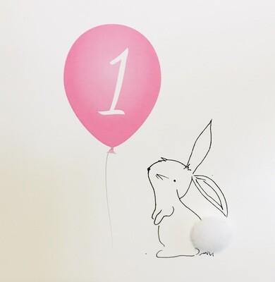 1st Birthday Greeting Card Pink
