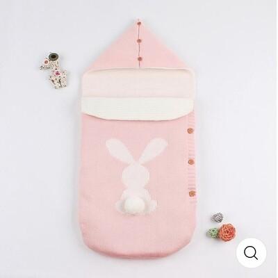 Bunny sleeping bag, pram blanket in pink with 3D pom pom bunny tail