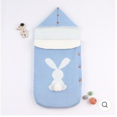 Bunny sleeping bag, pram blanket in blue with 3D pom pom bunny tail