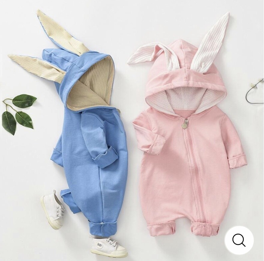 Bunny romper suit with ears available in sizes 0-3, 3-6 and 6-9 months