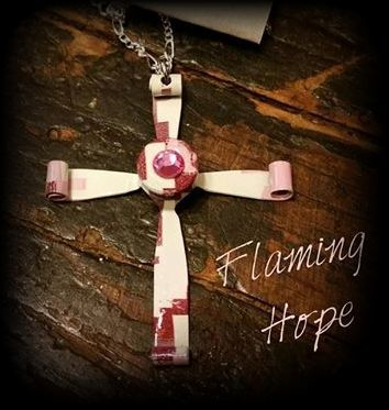 Hydrographic Dipped Bullet Casing Cross - Pink Digital Camo