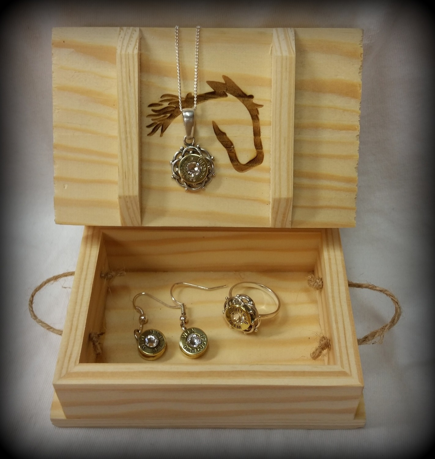 Sterling Silver Bullet Necklace, Earring and Ring Set
