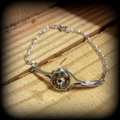 Sterling Silver Bullet Bracelet - Rose Stone