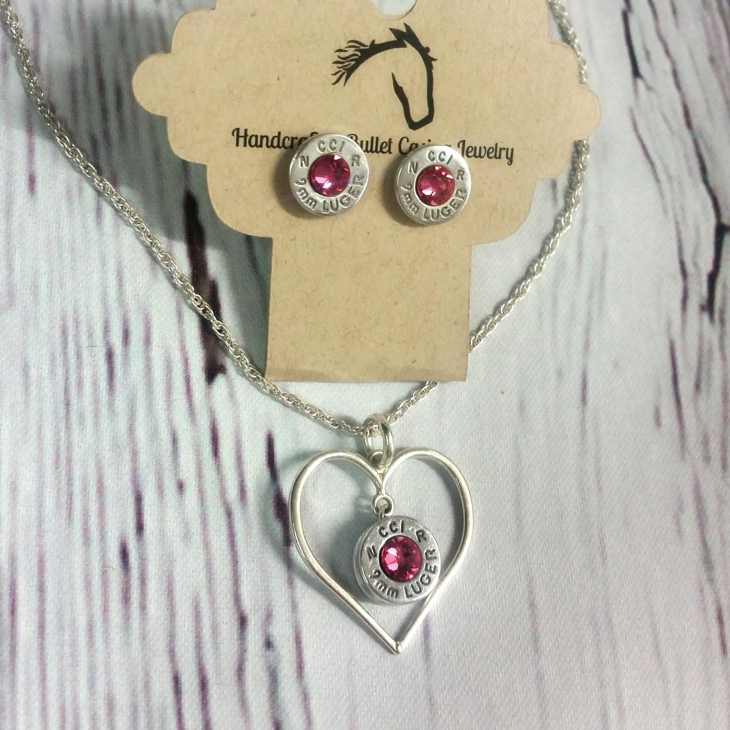 Sterling Silver Heart and Bullet Necklace and Earring Set