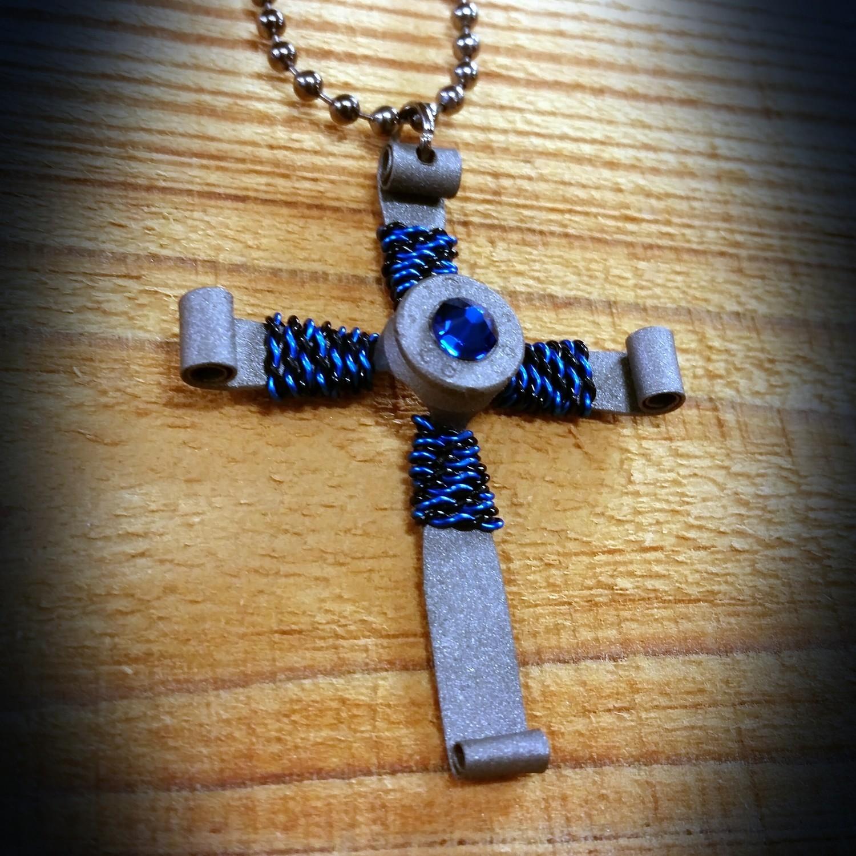Gun Metal Bullet Casing Cross Necklace