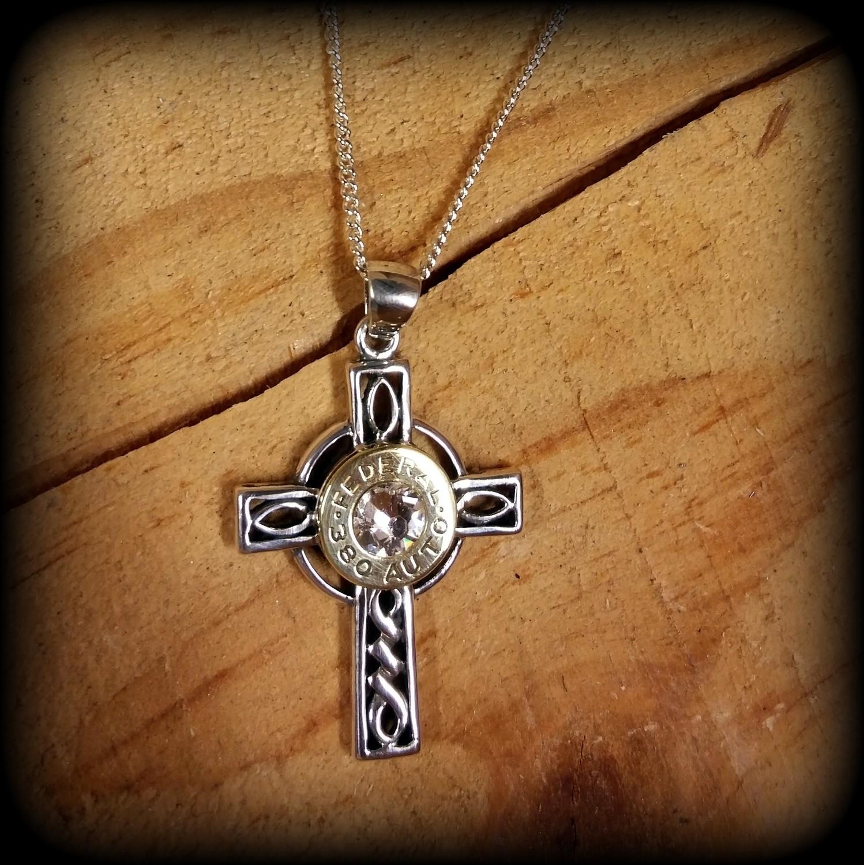 Sterling Silver Celtic Cross Bullet Necklace