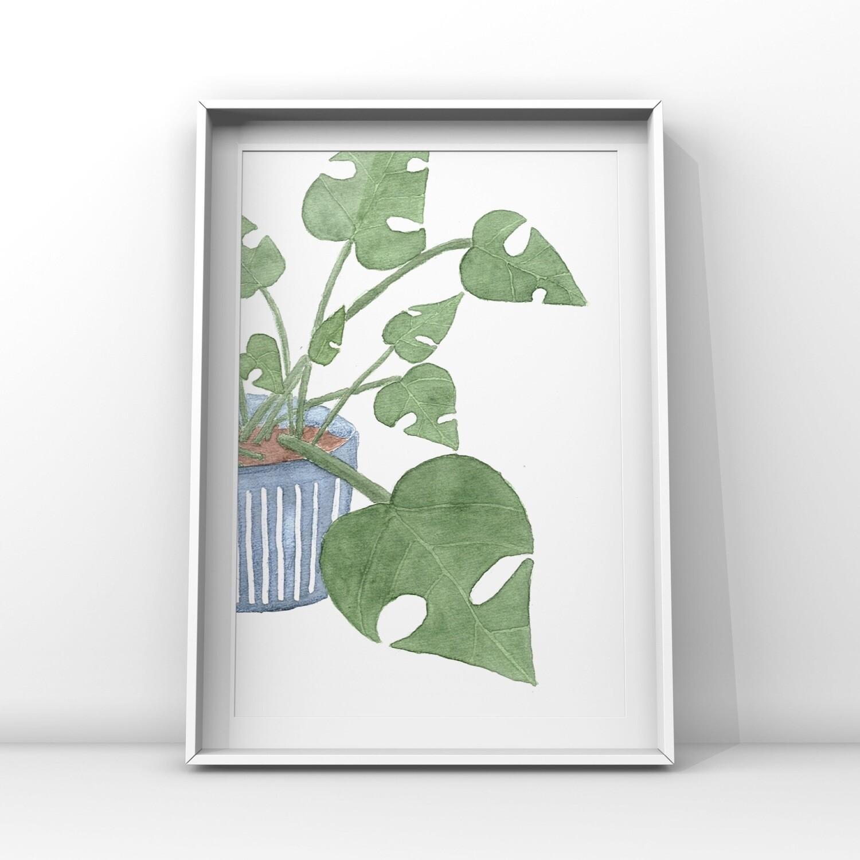 Växter akvarell, 3-pack A4- prints