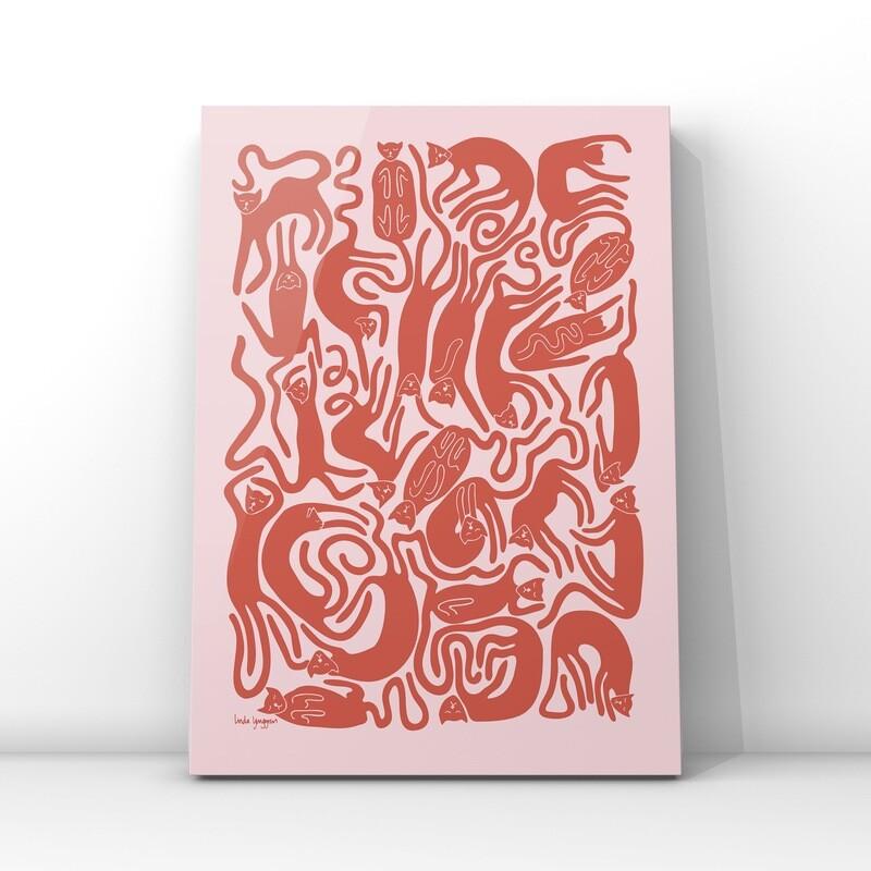 Nöjda katter poster | Rosa-röd