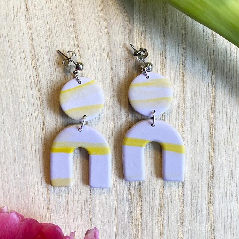 SIV örhängen   lila-gula bågar