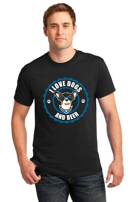 I Love Dogs & Beer Design featuring Meatball- Men's Tshirt or Tank