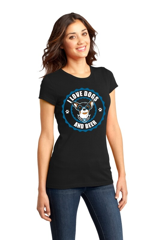 I Love Dogs & Beer Design featuring Meatball- Women's Tshirt or Tank