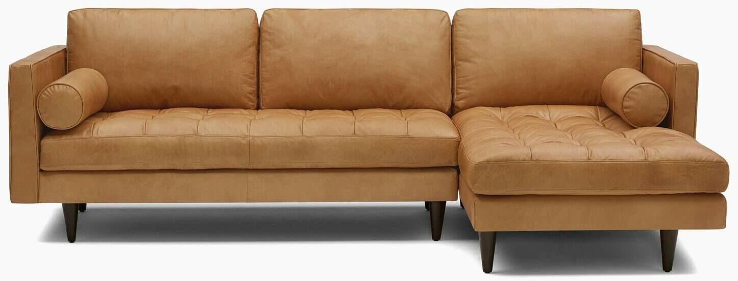 JB Briar Leather Sectional  (Fabric: Santiago Camel Wood Stain: Mocha 4999