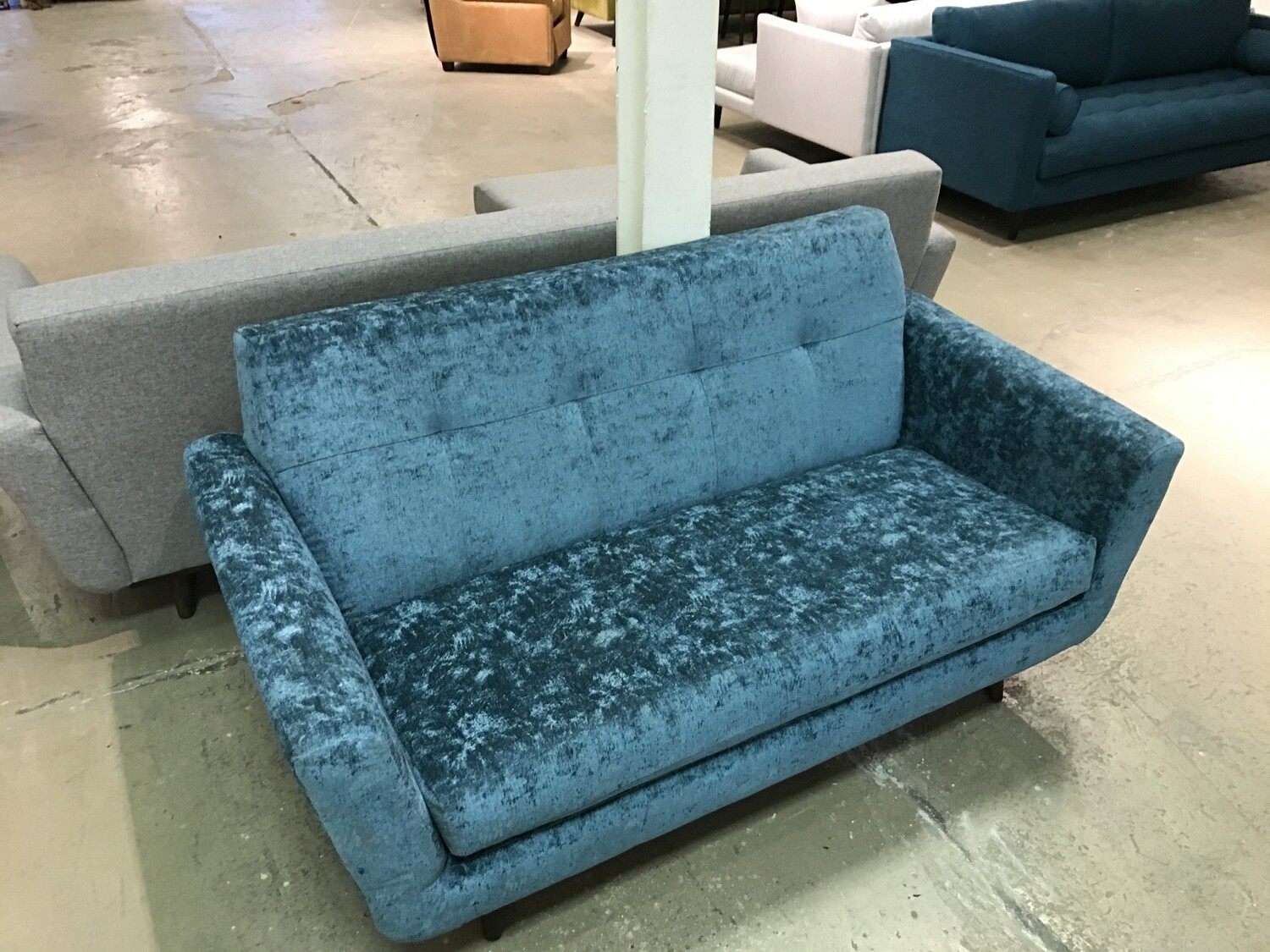 JB Hughes Apartment Sofa (Prime Peacock aka crushed velvet)