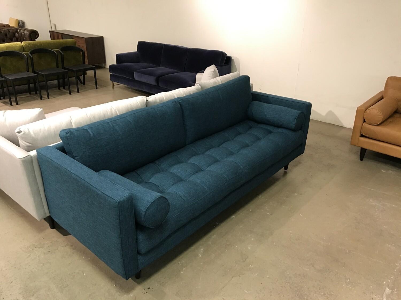 JB Briar Sofa Fabric: Key Largo Zenith Teal Wood Stain: Coffee Bean