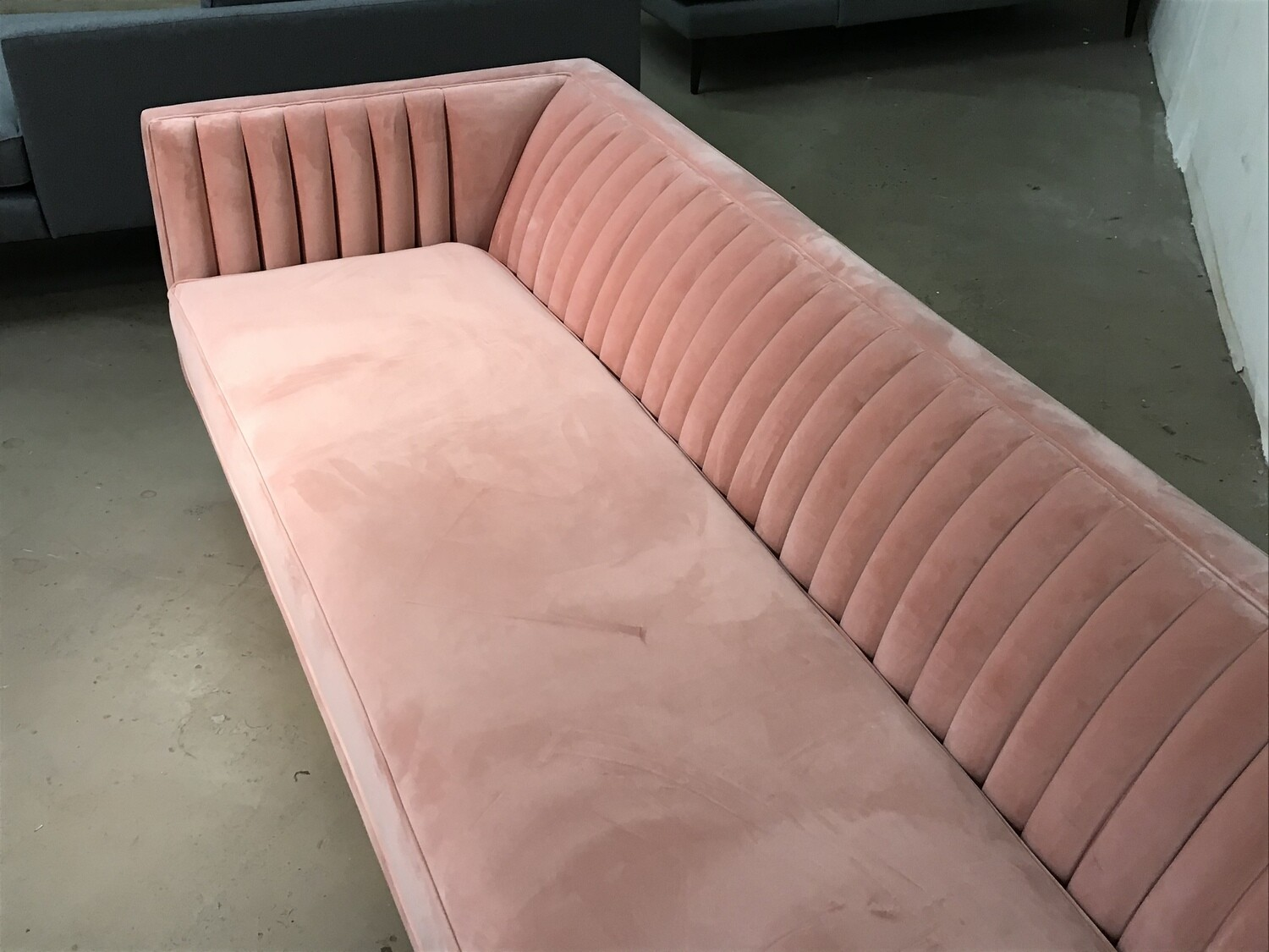 JB Chelsea Sofa Fabric: Royale Blush Wood Stain: Mocha (minor stain on one arm)