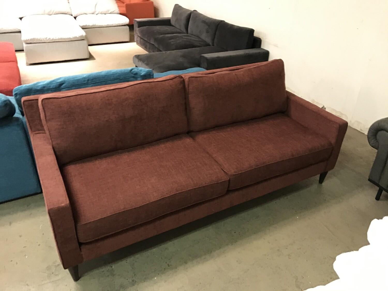 JB Levi Sofa Fabric: Milo Burgundy Wood Stain: Coffee Bean