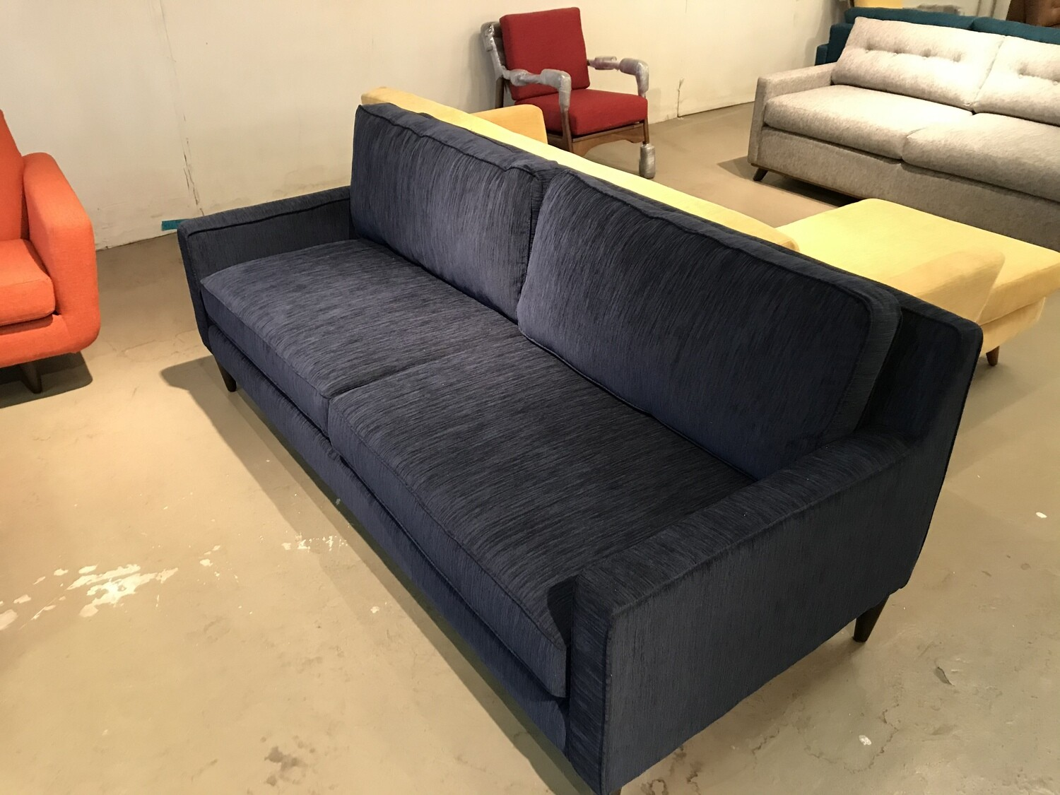 JB Levi Sofa Fabric: Bentley Indigo Wood Stain: Mocha 2376