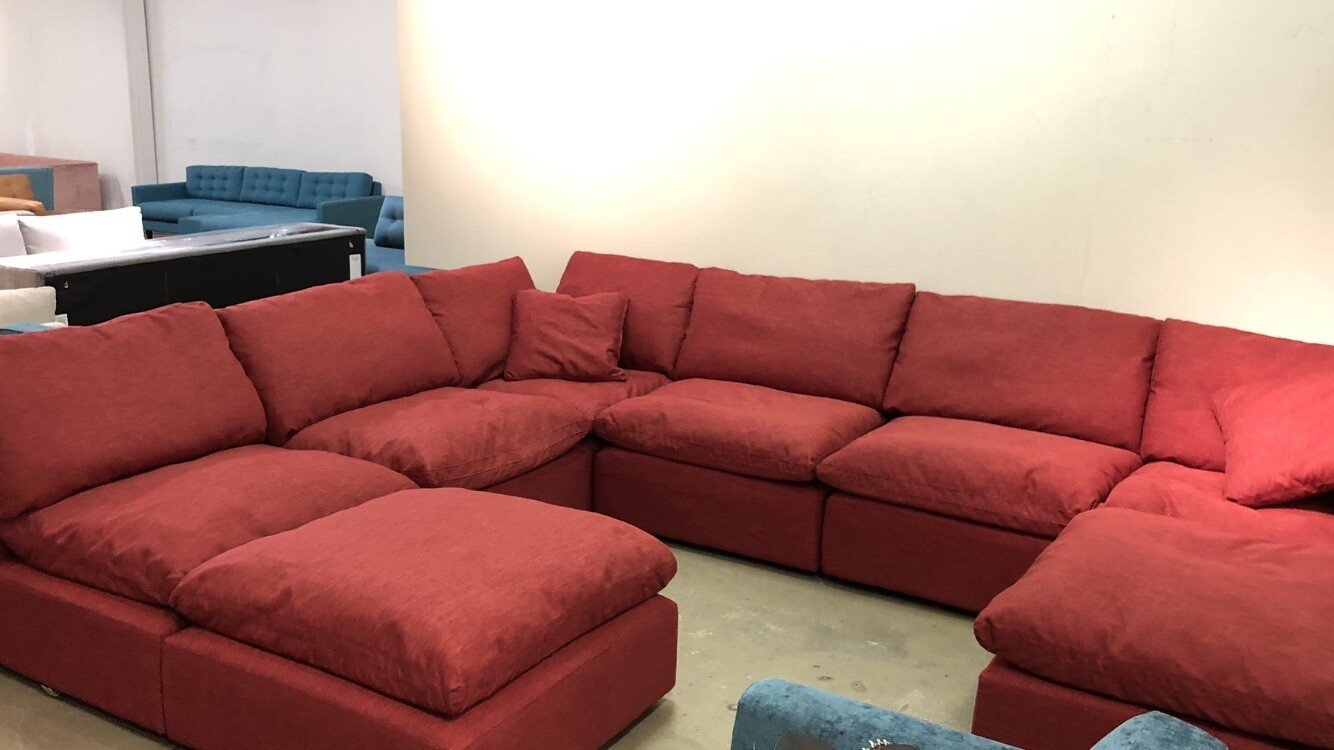 JB Bryant Sectional (8pc) - Ruby Red