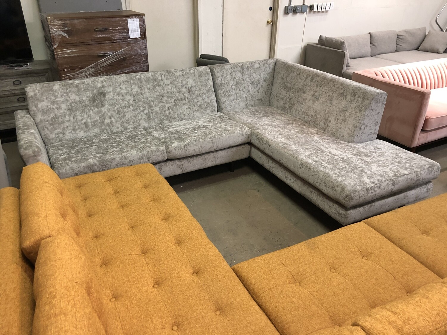 JB Hughes Sectional with Bumper (2 piece)  (Prime Stone)