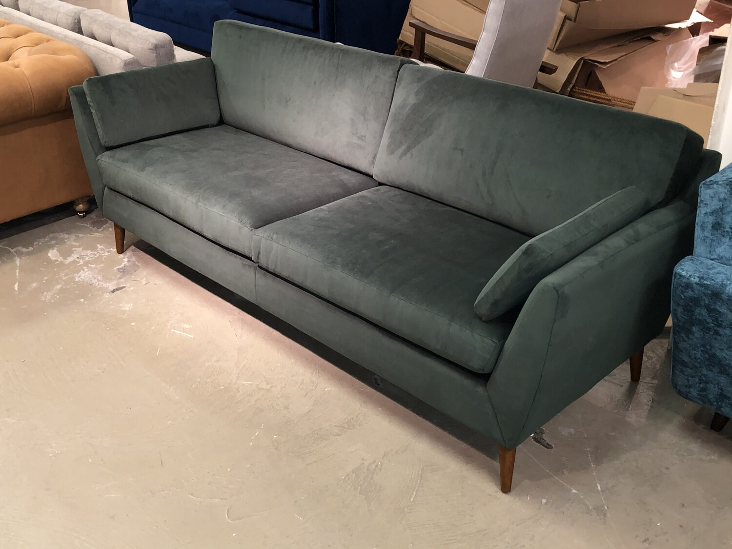 2-Cushion Seat & Back Velvet Sofa (Dark Pale Green)
