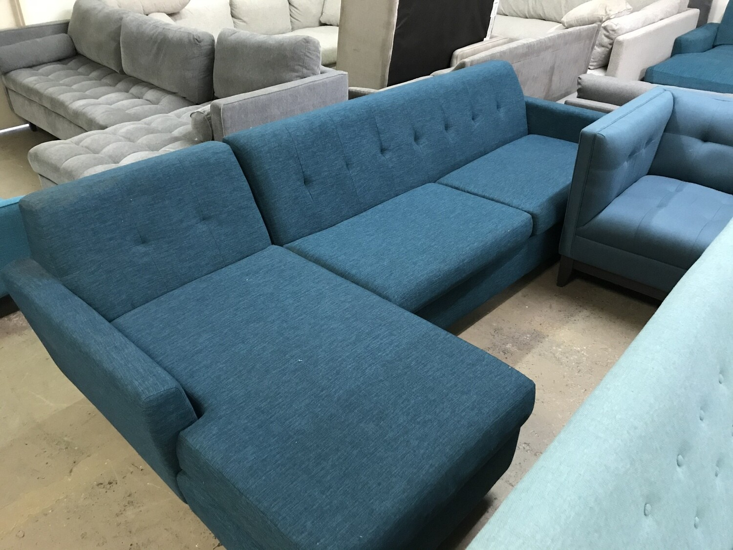 JB Hughes Sleeper Sectional - Key Largo Zenith Teal