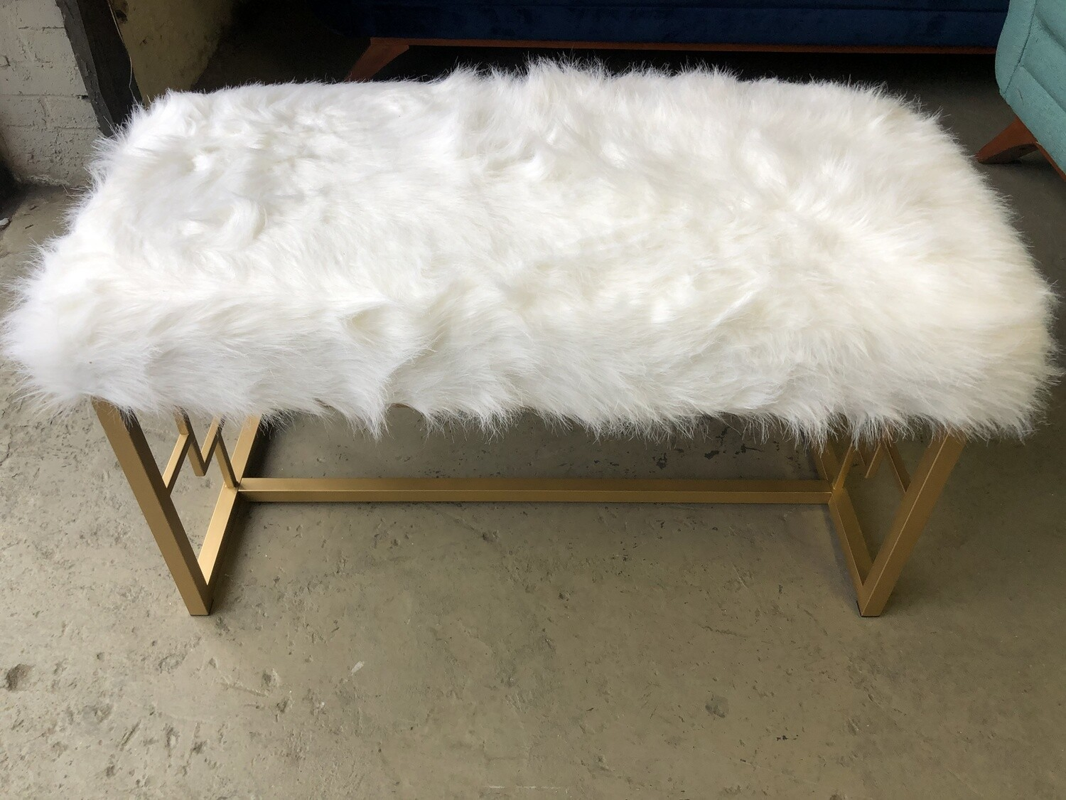 Faux Fur Bench (grated legs)