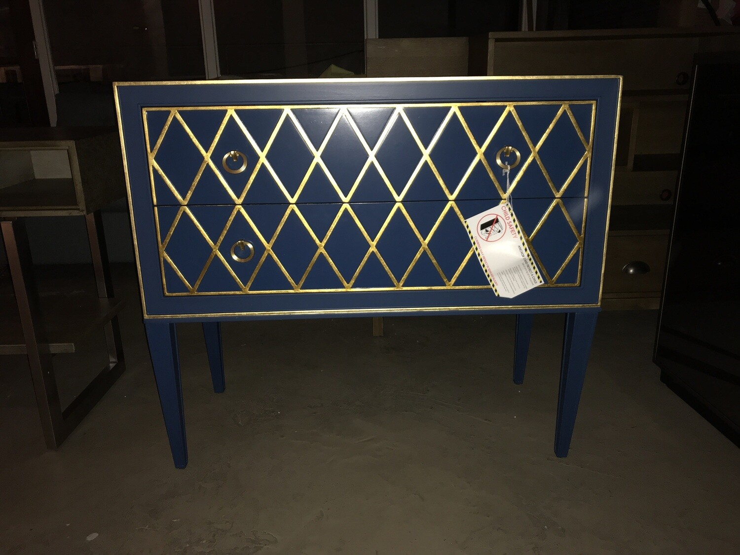 Blue & Gold Cabinet (2 drawers)
