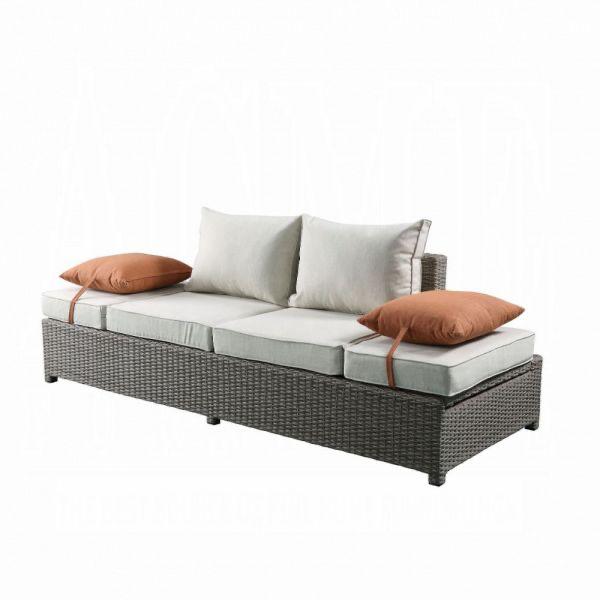 Salena Patio Sofa & Ottoman w/2 Pillows -  Beige Fabric & Gray Wicker
