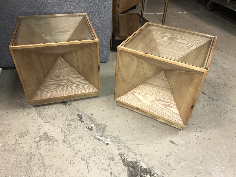 BMC Decorative End Tables (Wood, Glass, Wheels)