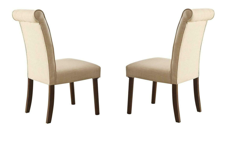 Gasha Side Chair (Set-2) - 72822 - Beige Linen & Walnut