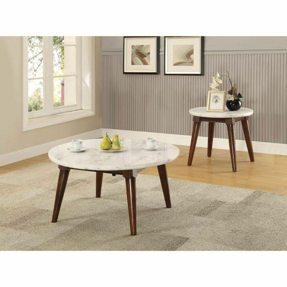Gasha Coffee Table - 82890 - White Marble & Walnut