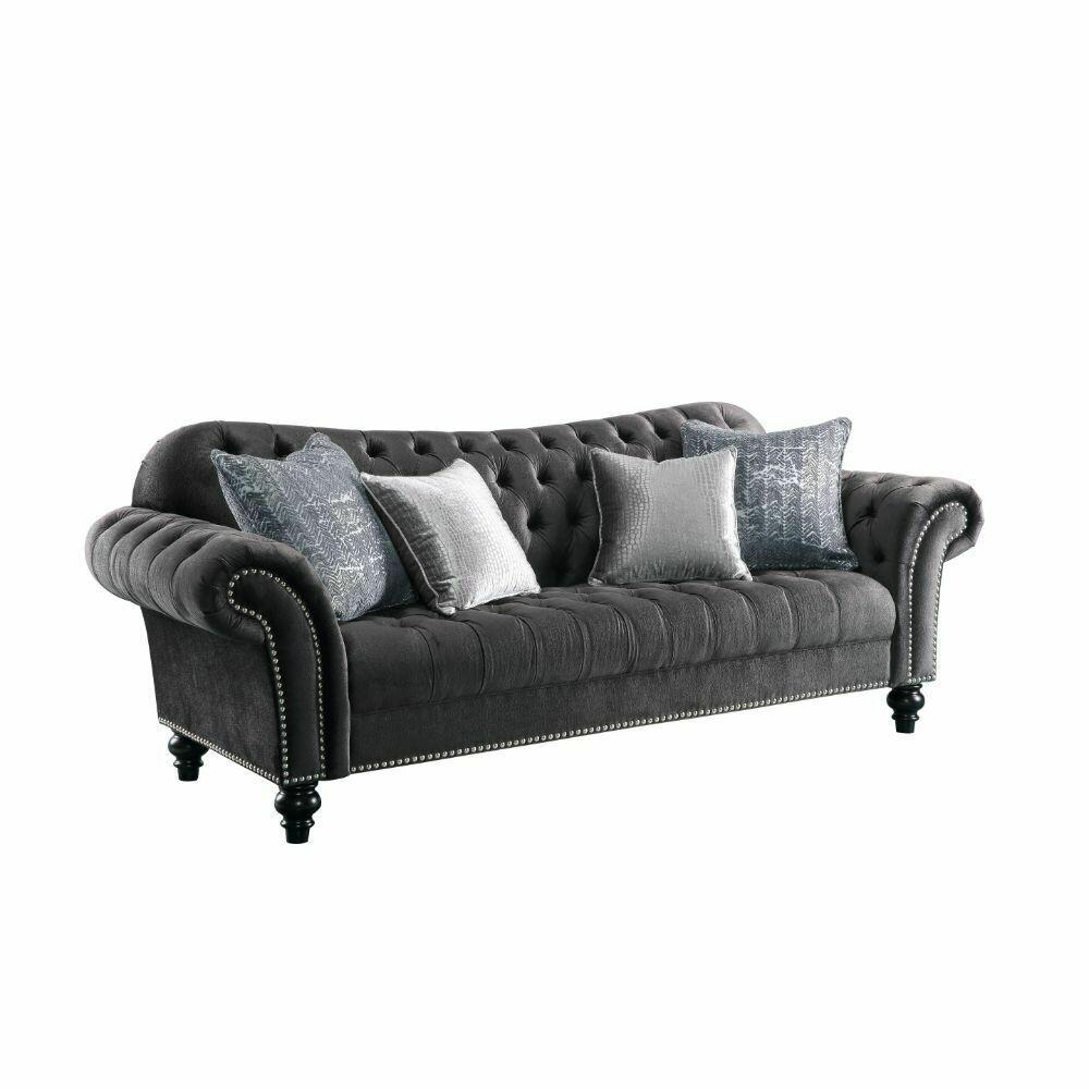 Gaura Sofa w/4 Pillows - 53090 - Dark Gray Velvet