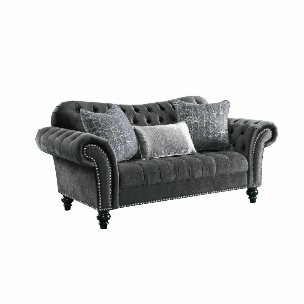 Gaura Loveseat w/3 Pillows - 53091 - Dark Gray Velvet
