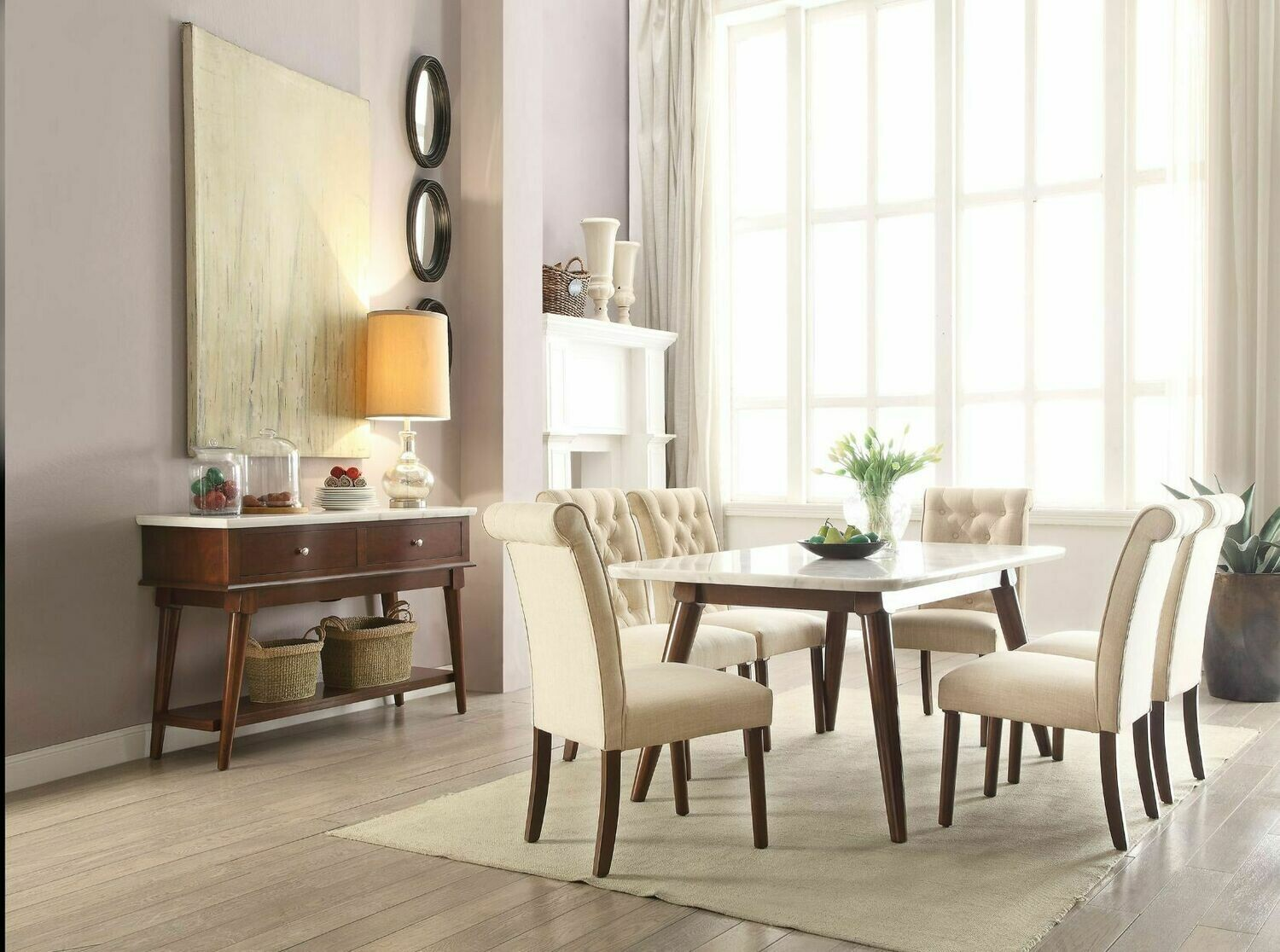 Gasha Dining Table (White Marble & Walnut) (Table only, Chairs Sold Separately)