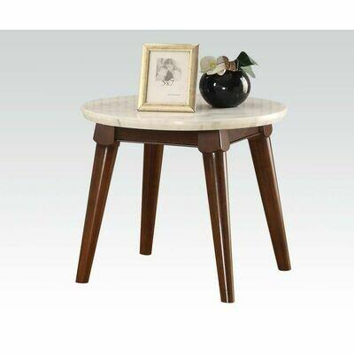 Gasha End Table (White Marble & Walnut)