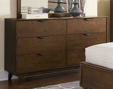 "Mid-Mod B106-23 60"" Drawer Dresser in Cinnamon"